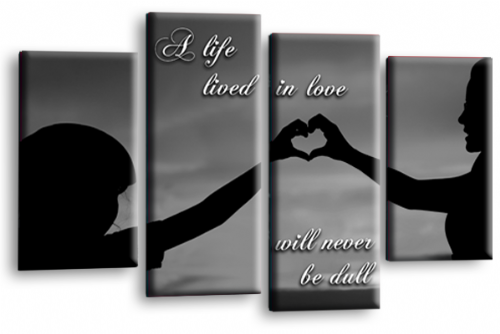 Life Quote Wall Art Print Grey Black Love Picture Split Panel